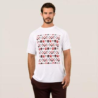 Camiseta Crânio cómico com teste padrão colorido cruzado