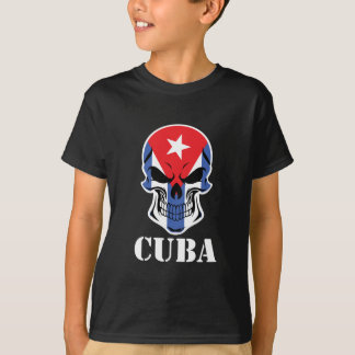 Camiseta Crânio cubano Cuba da bandeira