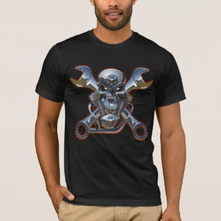 Camiseta crânio da motocicleta com o tshirt cruzado das