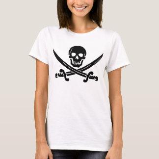 Camiseta Crânio de sorriso simples do pirata com espadas