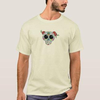 Camiseta Crânio do açúcar com flores e abelha