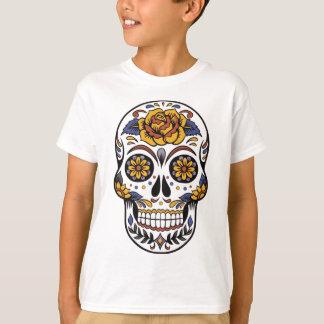 Camiseta Crânio do açúcar do rosa amarelo
