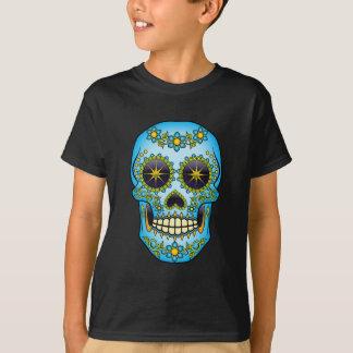 Camiseta Crânio do açúcar - floral azul