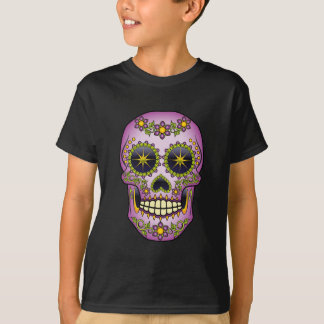 Camiseta Crânio do açúcar - floral roxo
