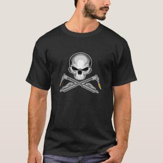 Camiseta Crânio do soldador e tochas cruzadas