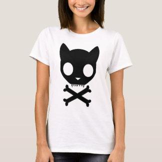 Camiseta Crânio e Crossbones de gato preto