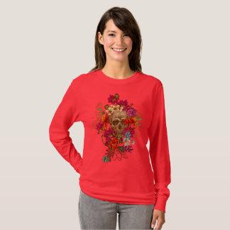 Camiseta Crânio e rosa das flores