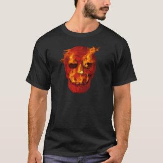 Camiseta Crânio flamejante vermelho