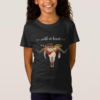 Camiseta Crânio floral boémio do Antler. Selvagem no
