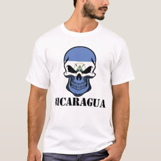 Camiseta Crânio nicaraguense Nicarágua da bandeira