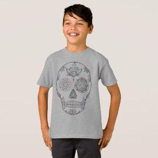 Camiseta Crânio o Dia das Bruxas cristalizado do açúcar