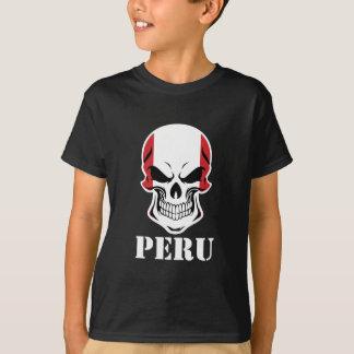 Camiseta Crânio peruano Peru da bandeira