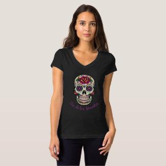 Camiseta Crânio principal cor-de-rosa do açúcar