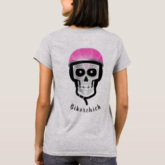 Camiseta Crânio que veste um capacete cor-de-rosa da