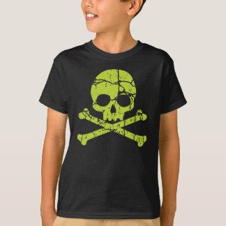 Camiseta Crânio verde e Crossbones do vintage