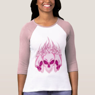 Camiseta Crânios cor-de-rosa flamejantes