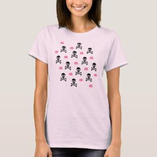 Camiseta Crânios e beijos do rosa