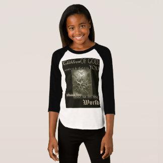 Camiseta Crianças de meninas do deus 3/4 de t-shirt da luva