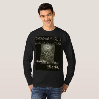Camiseta Crianças do t-shirt longo da luva dos homens do