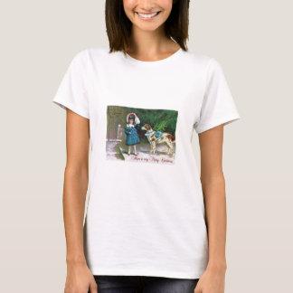Camiseta Crianças e cães do Feliz Natal do vintage