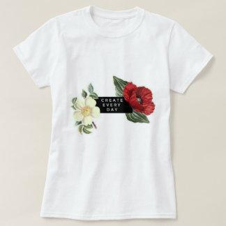 Camiseta Criar cada dia, t-shirt floral branco básico das