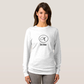 Camiseta criar o t-shirt longo da luva das mulheres do