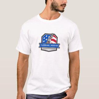 Camiseta Crista da bandeira dos EUA da chave de tubulação