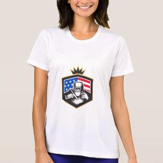 Camiseta Crista da bandeira dos EUA da soldadura de arco do