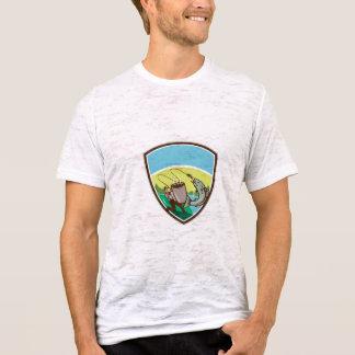 Camiseta Crista Salmon da caneca do pescador da mosca retro