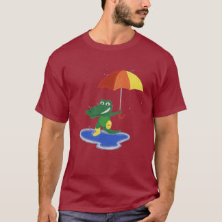 Camiseta Crocodilo bonito sob a chuva