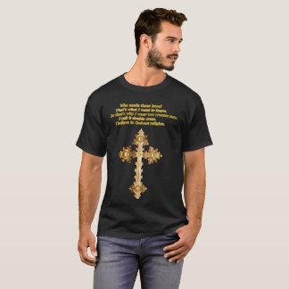 Camiseta Cruz cristã do divertimento do ouro com provérbio