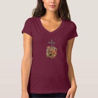 Camiseta Cruz da flor do t-shirt w/Pink do V-Pescoço do