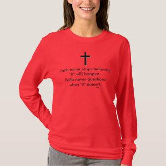 Camiseta Cruz nunca longa do sólido da luva w/Black da fé