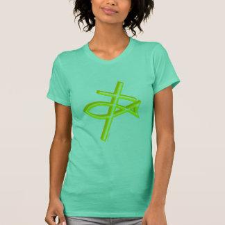 Camiseta Cruz & peixes cristãos