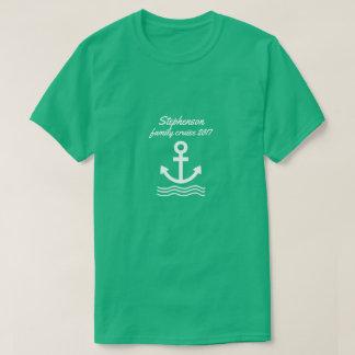 Camiseta Cruzeiro da família com âncora e ondas