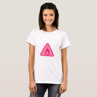 Camiseta Cuidado cor-de-rosa