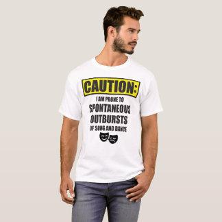 Camiseta Cuidado: Irrupções espontâneas inclinadas