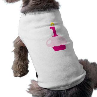 Camiseta Cupcake cor-de-rosa com vela do aniversário