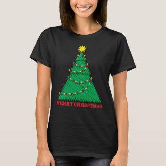 Camiseta Curso esboçado da árvore do Feliz Natal