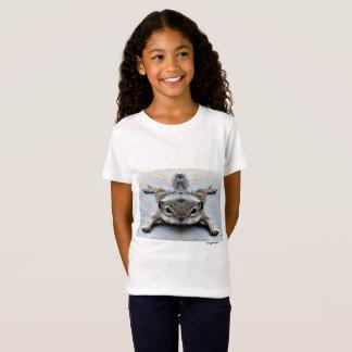 Camiseta curta branca da luva da menina