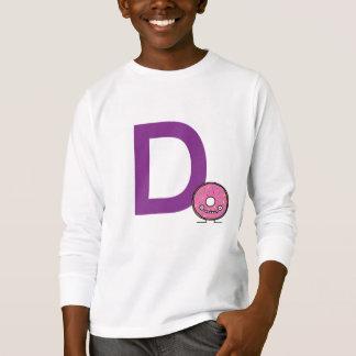 Camiseta D é para a crosta de gelo do rosa da sobremesa da