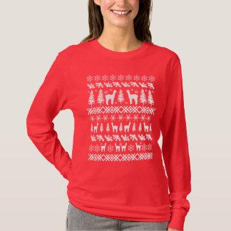 """Camiseta Da camisola feia do Natal da alpaca """"branco"""""""