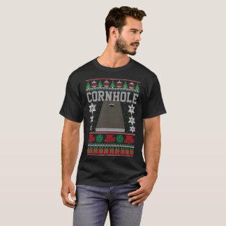 Camiseta Da camisola feia do Natal de Cornhole feriado