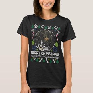 Camiseta Da camisola feia do Natal do cão do GSP de cabelos