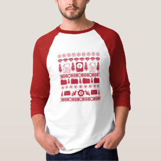 Camiseta Da camisola feia do Natal dos ícones do computador