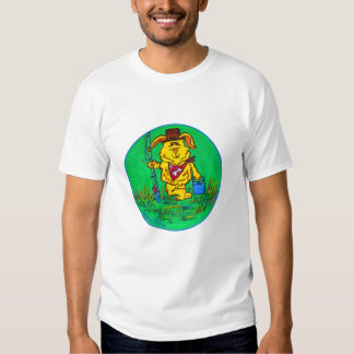 Camiseta da campainha dos homens - pesca ida cão
