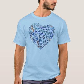 Camiseta Da família watts do azul do t-shirt
