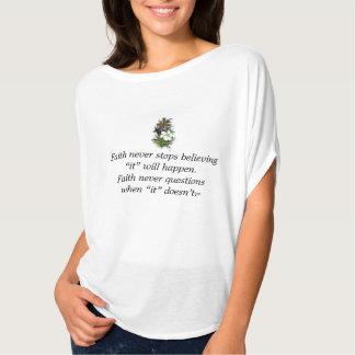 Camiseta Da fé cruz superior da flor da urze w/Blue nunca