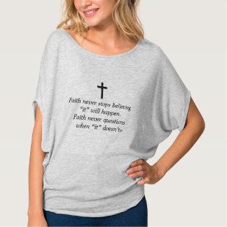 Camiseta Da fé cruz superior do sólido da urze w/Black
