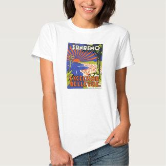 camiseta da fêmea da etiqueta do hotel do sanremo